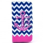 Chevron & Anchor Pattern Leather Magnetic Case Cover for iPhone 5c w/ Stand