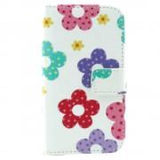 Δερμάτινη Θήκη Πορτοφόλι με Βάση Στήριξης για Samsung Galaxy Core 2 G355H - Πολύχρωμα λουλούδια