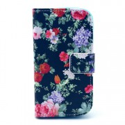Pretty Colorful Flowers Wallet Leather Shell for Samsung Galaxy S Duos 2 S7582 / Trend Plus S7580