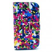 Δερμάτινη Θήκη Πορτοφόλι με Βάση Στήριξης για Samsung Galaxy S Duos S7562 / Trend S7560 / Ace II X S7560M - Πολύχρωμα γεωμετρικά σχέδια
