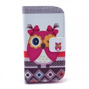 Adorable Girl Owl Stand Leather Wallet Shell for Samsung Galaxy Trend S7560 / S Duos 2 S7582