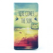 PU Leather Wallet Shell for Sony Xperia M2 D2305 / M2 Dual D2302 - Here Comes the Sun