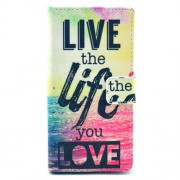 Leather Wallet Case for Sony Xperia M2 D2305 / M2 Dual D2302 - Quote Live the Life You Love