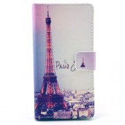 PU Leather Wallet Shell for Sony Xperia M2 D2305 / M2 Dual D2302 - Paris Eiffel Tower