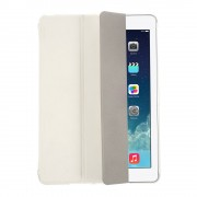 White for iPad Air 5 Tri-folding Smart Leather Flip + Transparent PC Back Case