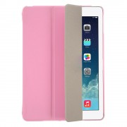 Pink for iPad Air 5 Tri-folding Smart Leather Flip + Translucent PC Back Cover