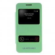 Dual Window View Brushed Leather Battery Door Housing for Samsung Galaxy Core 2 G355H - Green