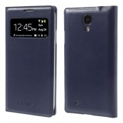 Litchi for Samsung Galaxy S4 I9500 S-View Smart Leather Cover Battery Housing - Dark Blue