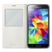 White Window View Smart Leather Flip Battery Cover for Samsung Galaxy S5 G900