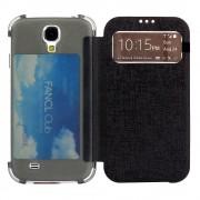 Δερμάτινη Θήκη Βιβλίο Smart Cover με Διάφανη Πλάτη και Θέση για Κάρτα για Samsung Galaxy S4 I9505 I9502 I9500 - Μαύρο