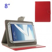 Universal Δερμάτινη Θήκη Βιβλίο με Βάση Στήριξης για iPad Mini 2 / Samsung N5100 N5110 Tablets 8 ιντσών - Κόκκινο
