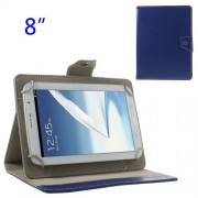 Universal Crazy Horse Leather Stand Shell for iPad Mini 2 / Samsung N5100 N5110 8-inch Tablet PC - Navy Blue