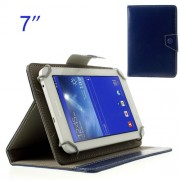 Dark Blue Crazy Horse Leather Skin Case for Samsung Tab T110 P3200 P6200/ Lenovo S5000 Etc. Size: 12.5 x 19.5cm