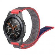22mm Width  R800 Loop Fastener Nylon Weaven  Smart Watch Replacement Strap for Samsung Galaxy Watch 46mm - Blue / Red