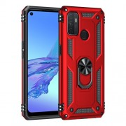 Anti-drop PC + TPU Combo Hybrid Phone Shell with Ring Kickstand for Oppo A53 / Oppo A53s / A32 4G - Red