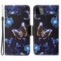 Δερμάτινη Θήκη Πορτοφόλι με Βάση Στήριξης για Samsung Galaxy A22 5G (EU Version) - Αστραφτερές Πεταλούδες σε Μαύρο Φόντο