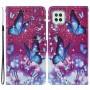 Δερμάτινη Θήκη Πορτοφόλι με Βάση Στήριξης για Samsung Galaxy A22 4G (EU Version) - Μωβ Πεταλούδες σε Κόκκινο Φόντο