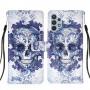 Δερμάτινη Θήκη Πορτοφόλι με Βάση Στήριξης για Samsung Galaxy A32 4G (EU Version) - Λουλούδια με Νεκροκεφαλή