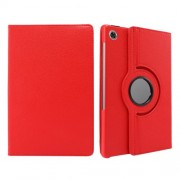 360° Swiveling Stand Design Litchi Texture Leather Case for Lenovo Tab M10 Plus - Red