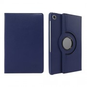360° Swiveling Stand Design Litchi Texture Leather Case for Lenovo Tab M10 Plus - Dark Blue