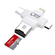 4 σε 1 Micro SD TF Card Reader OTG Adapter for Lightning iOS/OS X/PC/Android - Λευκό