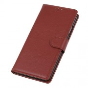 Litchi Skin Wallet Leather Stand Case for Alcatel 1S (2019) - Brown