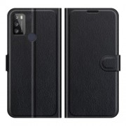 Litchi Texture PU Leather Wallet Design Phone Stand Cover Shell for Alcatel 1S (2021)/3L (2021) - Black