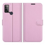 Litchi Texture PU Leather Wallet Design Phone Stand Cover Shell for Alcatel 1S (2021)/3L (2021) - Pink