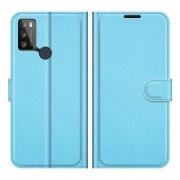 Litchi Texture PU Leather Wallet Design Phone Stand Cover Shell for Alcatel 1S (2021)/3L (2021) - Blue