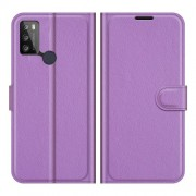 Litchi Texture PU Leather Wallet Design Phone Stand Cover Shell for Alcatel 1S (2021)/3L (2021) - Purple