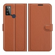Litchi Texture PU Leather Wallet Design Phone Stand Cover Shell for Alcatel 1S (2021)/3L (2021) - Brown