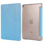 Silk Texture Origami Stand PU Leather Case for iPad mini (2019) 7.9 inch - Baby Blue