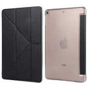 Silk Texture Origami Stand PU Leather Case for iPad mini (2019) 7.9 inch - Black