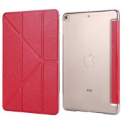Silk Texture Origami Stand PU Leather Case for iPad mini (2019) 7.9 inch - Red