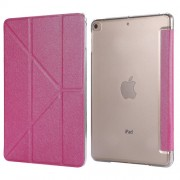 Silk Texture Origami Stand PU Leather Case for iPad mini (2019) 7.9 inch - Rose