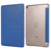 Silk Texture Origami Stand PU Leather Case for iPad mini (2019) 7.9 inch - Dark Blue