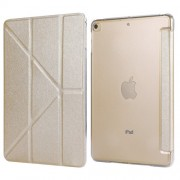 Silk Texture Origami Stand PU Leather Case for iPad mini (2019) 7.9 inch - Champagne Gold