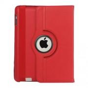 Περιστρεφόμενη Δερμάτινη Θήκη Βιβλίο με Βάση Στήριξης για iPad 2 3 4 - Κόκκινο