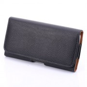 Lychee Texture Hidden Magnetic Flip Waistband Holster for iPhone 8 Plus/7 Plus/ Galaxy Note 8 - Black
