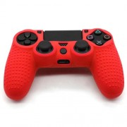 Anti-Slip Grip Silicone Cover Protector Case for PS4 Controller - Red