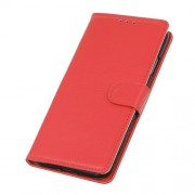 Litchi Texture Leather Wallet Stand Phone Protective Case for Realme 7 Pro - Red