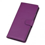 Litchi Texture Leather Wallet Stand Phone Protective Case for Realme 7 Pro - Purple