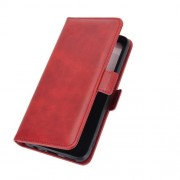 Double Clasp Flip Stand Leather Cover for Realme 7 (Global) / Realme 7 (Asia) - Red