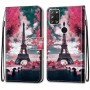 Pattern Printing Cross Texture Leather Wallet Phone Cover with Strap for Alcatel 3X (2020) - Eiffel Tower