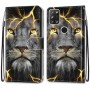 Pattern Printing Cross Texture Leather Wallet Phone Cover with Strap for Alcatel 3X (2020) - Lion Face