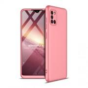 GKK 360 μοιρών Σκληρή Θήκη Ματ με Βελούδινη Υφή Πρόσοψης και Πλάτης για Samsung Galaxy A31 - Ροζέ Χρυσαφί