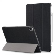 Litch Skin PU Leather Tri-fold Stand Tablet Case for iPad Pro 11-inch (2020) / (2018) - Black