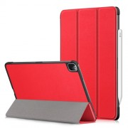 Litch Skin PU Leather Tri-fold Stand Tablet Case for iPad Pro 11-inch (2020) / (2018) - Red