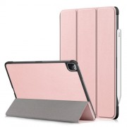 Litch Skin PU Leather Tri-fold Stand Tablet Case for iPad Pro 11-inch (2020) / (2018) - Pink