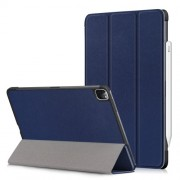 Litch Skin PU Leather Tri-fold Stand Tablet Case for iPad Pro 11-inch (2020) / (2018) - Blue